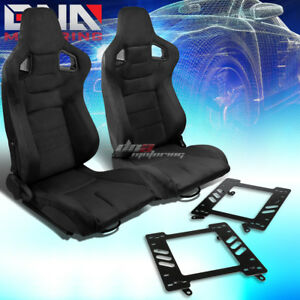 2x Black Suede Rear Carbon Fiber Look Racing Seat bracket Fit 99 04 Ford Mustang