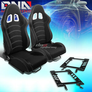 Pair Black Cloth White Dual Stitch Racing Seat bracket Fit 79 98 Ford Mustang