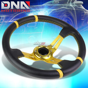 350mm Gold Stripes 3 5 Deep Dish Racing Steering Wheel Fit 70mm 6 Bolt Adapter