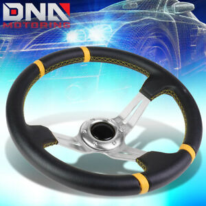 350mm Silver Yellow 3 5 Deep Dish Racing Steering Wheel Fit 70mm 6 Bolt Adapter