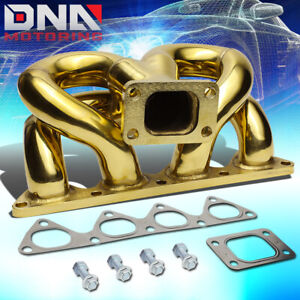 For 88 00 Honda Civic D15 D16 Engine Gold Ramhorn Bottom Mount T3 Turbo Manifold