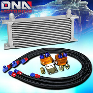 15 Row 10an Silver Aluminum Engine Transmission Oil Cooler Black Relocation Kit