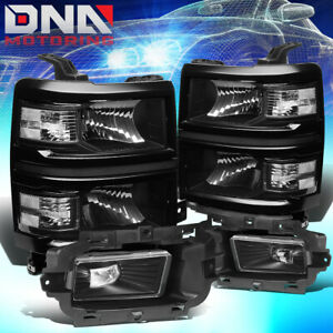 Fit 2014 2015 Chevy Silverado 1500 Led Black Clear Headlights Clear Fog Lamps