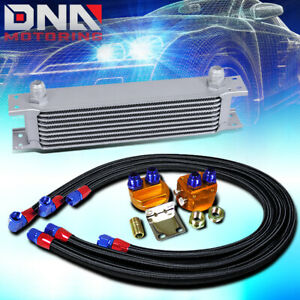 9 Row 10an Silver Aluminum Engine Transmission Oil Cooler Black Relocation Kit