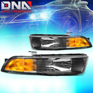 For 1999 2003 Mitsubishi Galant Black Amber Side Headlight Lamps Replacement