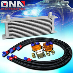13 Row 10an Silver Aluminum Engine Transmission Oil Cooler Black Relocation Kit