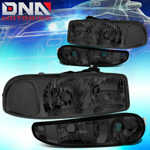 For 2001 2007 Gmc Sierra yukon Denali Driving Headlight bumper Lamp Smoked clear