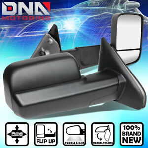For 2002 2009 Dodge Ram Pair Black Manual Flip Up Towing Camper Side Mirrors