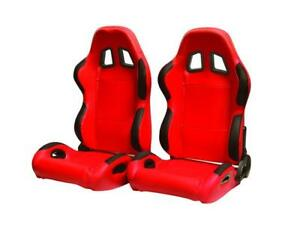Cipher Auto Red Leatherette W lap Belt Bezels Universal Racing Seats Pair New