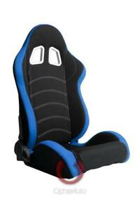 Cipher Auto Black Premium Fabric W blue Border Universal Racing Seats Pair New