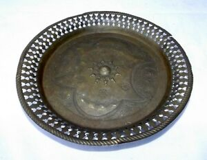 Antique Indian Hand Carving Brass Tray Old Welcome Written Flower Design Tray