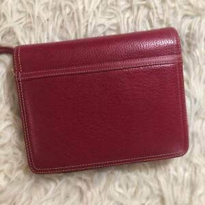 Franklin Covey Red 6 Ring Zip Genuine Leather Binder Planner 9 X 8 5 X 4