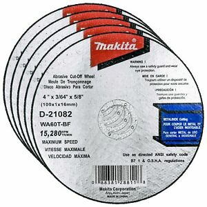 Makita 5 Pack 4 Inch Cutting Wheels For 4 Grinders On Metal Stainless Steel