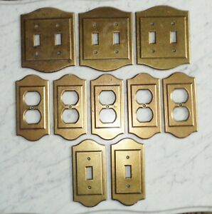 9 Vintage Amerock Carriage House Solid Brass Light Outlet Switch Plate Covers