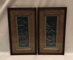 2 Antique Vintage Chinese Panels On Silk Embroidery Landscapes
