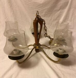 Mcm Retro Wood Brass Ceiling Lamp Chandelier W Drizzle Spaghetti Glass
