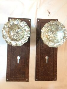 Vintage Glass 2 Door Knobs W Face Plates Shabby Chic Lot 4