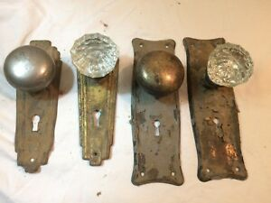 Vintage Glass 4 Door Knobs W Face Plates Shabby Chic