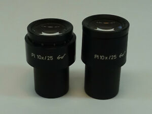 Pair Of Zeiss Pl 10x 25 Micrscope Eyepieces Pn 44 40 34 And 44 40 33