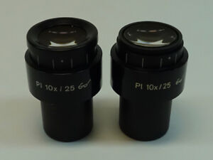 Pair Of Zeiss Pl 10x 25 Microscope Eyepiece Pn 444034