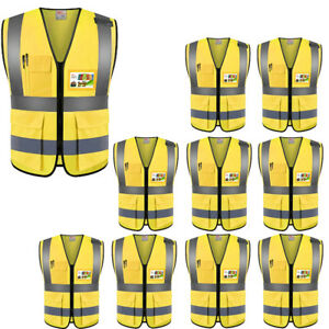 10 Pcs Zojo High Visibility Safety Vests L Size Pockets For Outdoor Work yellow