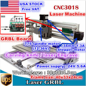 usa 3 Axis 3018 Diy Mini Laser Machine Grbl Control Pcb Milling Cnc Wood Router