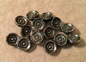 Victorian Iridized Black Glass Antique Buttons Set Of 14 Wire Shank Silver