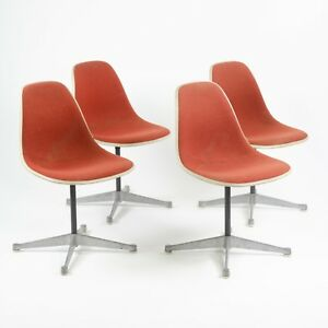 Eames Herman Miller Fiberglass Shell Chairs Alexander Girard Fabric Set Of Four