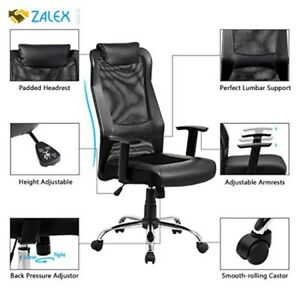 High Back Mesh Office Chair Ergonomic Computer Desk Executive Padded Leather New