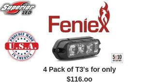 4 Pack Feniex T3 Led Grille Grill Surface Perimeter Mount Red Amber White Blue