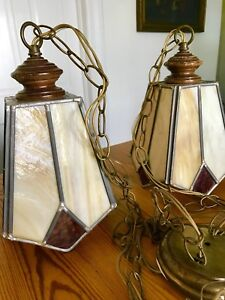 2 Vintage Pendant Arts Crafts Mission Chandelier Lamp W 2 Slag Glass Shades