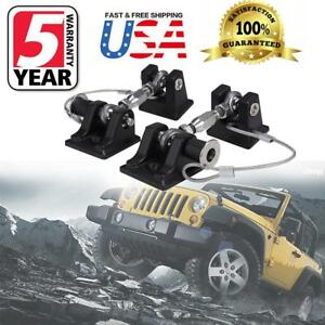 Black Hood Lock Latch Anti thief Catch Pin Kit With Key For Jeep Wrangler Jk