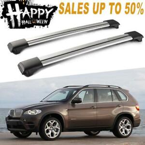 2x Universal Top Rail Cross Bars Roof Rack Luggage Cargo Carrier For Bmw Mazda