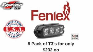 8 Pack Feniex T3 Led Grille Grill Surface Perimeter Mount Red Amber White Blue