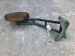 Vintage Industrial Mounted Swing Out Factory Drafting Stool