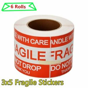 6 Rolls 3x5 Fragile Stickers Handle With Care Thank You Packing Shipping Labels