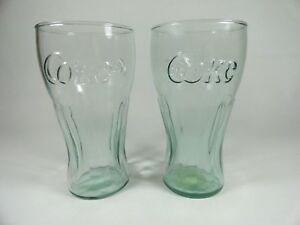 2 Mcdonalds Coca-Cola 12 ounce Glasses BlueGreen Tint or haze not clear 6""