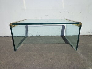 Leon Rosen For Pace Waterfall Coffee Table Mid Century Modern Brass Glass Mcm