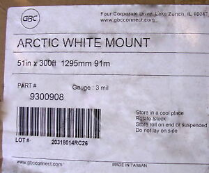 Gbc Arctic White Mount 3 core 51 X 300 Ft Hot Laminating Film White Polyester