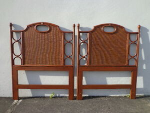 2 Headboards Vintage Wicker Rattan Twin Peacock Sunshine Single Bed Beachy Woven