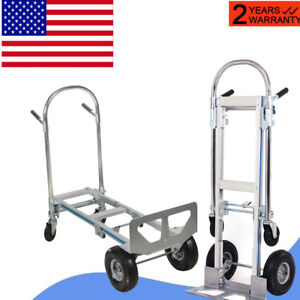 2 In1 Aluminum Hand Truck 770lbs 51inch Fold 2wheel Dolly 4 Wheel Cart Easy Move