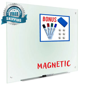 Magnetic Glass Dry Erase Board Whiteboard 35 X 47 Large Clear Frameless