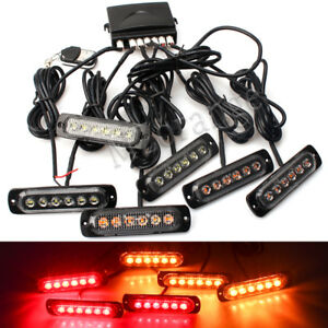 6pc 6led Remote Controller Car Truck Emergency Warning Strobe Light Amber Red