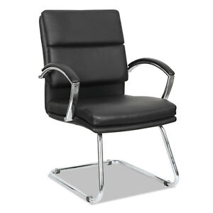 Alera Neratoli Series Slim Profile Guest Chair Black Soft Leather Chrome Frame