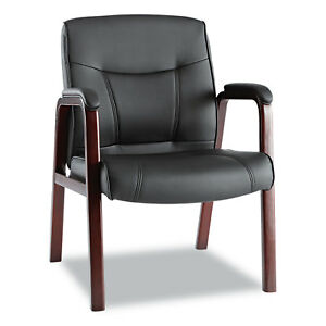 Alera Madaris Series Leather Guest Chair W wood Trim Four Legs Black mahogany