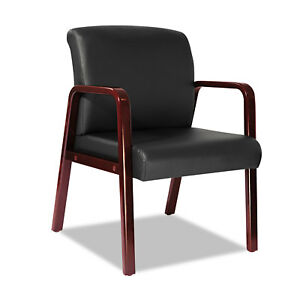 Alera Reception Lounge Series Guest Chair Cherry black Leather