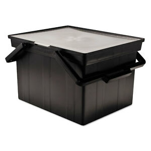 Companion Portable File Storage Box Legal letter Plastic Black