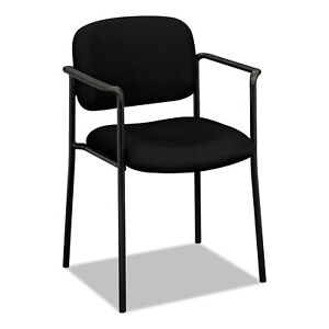 Vl616 Series Stacking Guest Chair With Arms Black Fabric