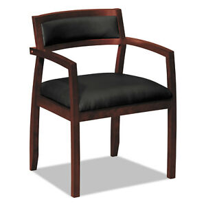Topflight Wood Guest Chairs W black Leather Seat upholstered Back Mahogany