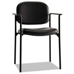 Vl616 Series Stacking Guest Chair With Arms Black Leather